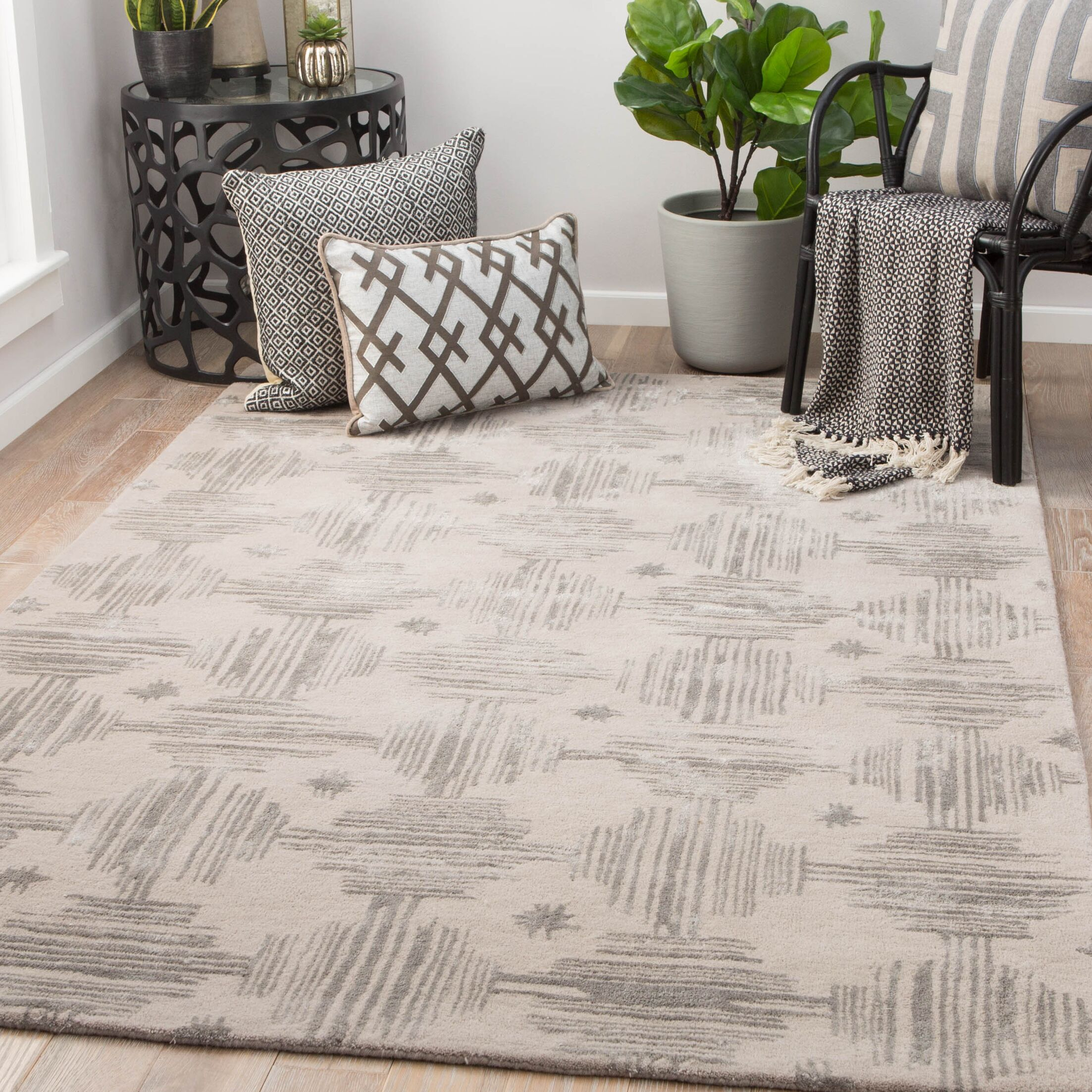 Pangle Hand-Tufted Simply Taupe/Charcoal Gray Area Rug Rug Size: Rectangle 5' x 8'