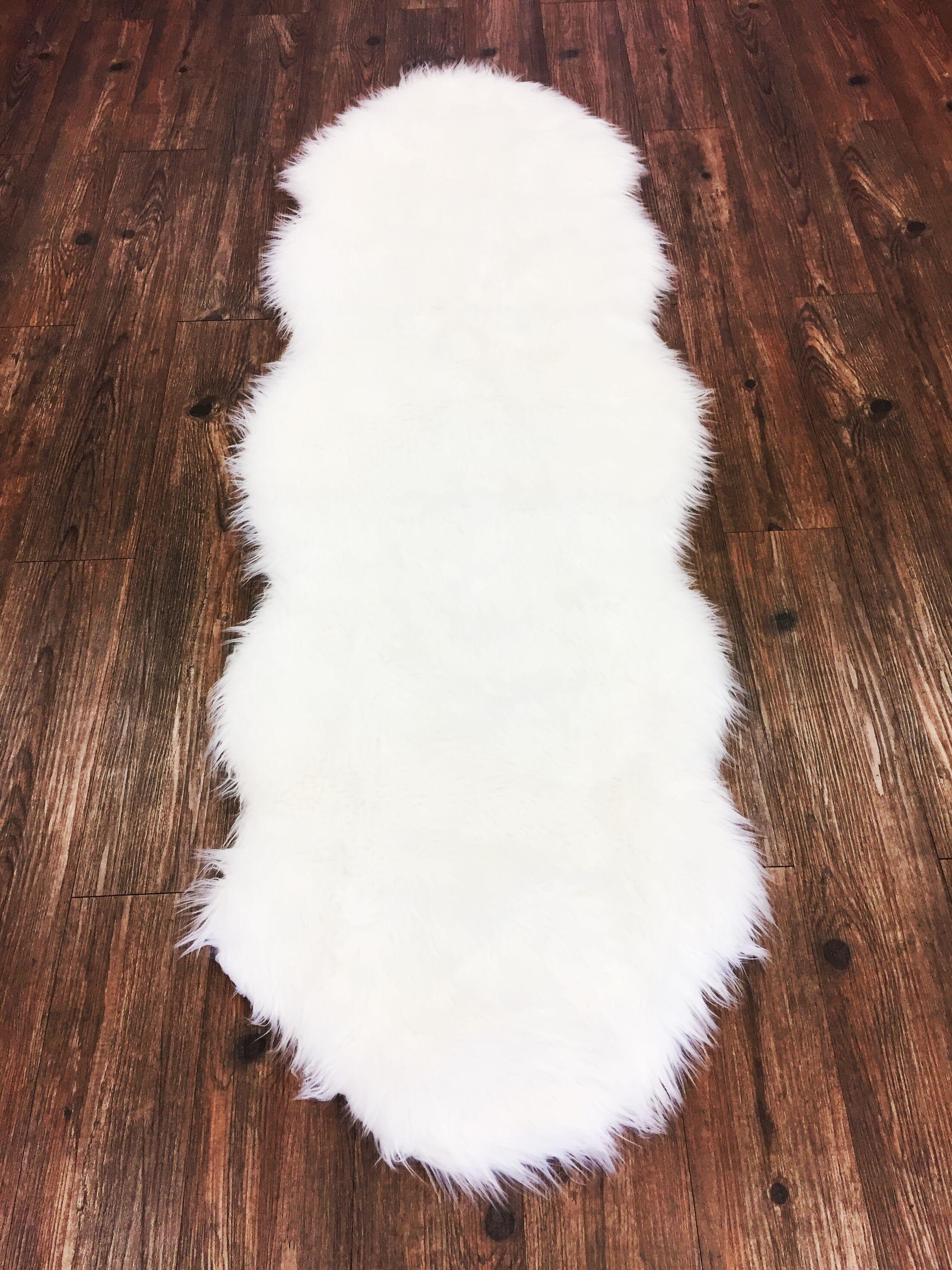 Peluso Novelty Faux Fur Ivory Area Rug