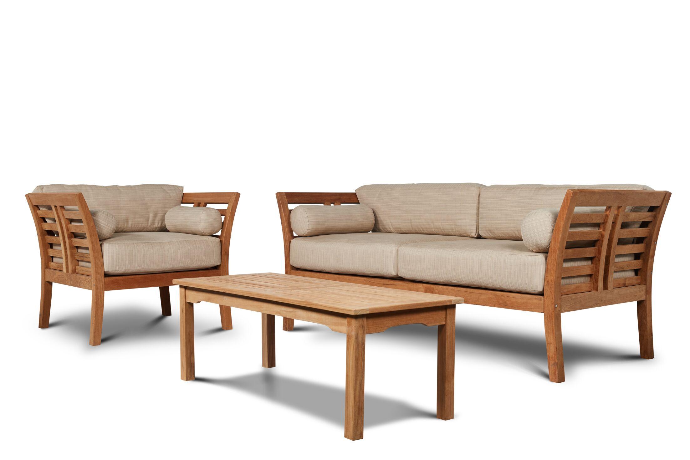 Fleischer 4 Piece Teak Sofa Set with Sunbrella Cushions