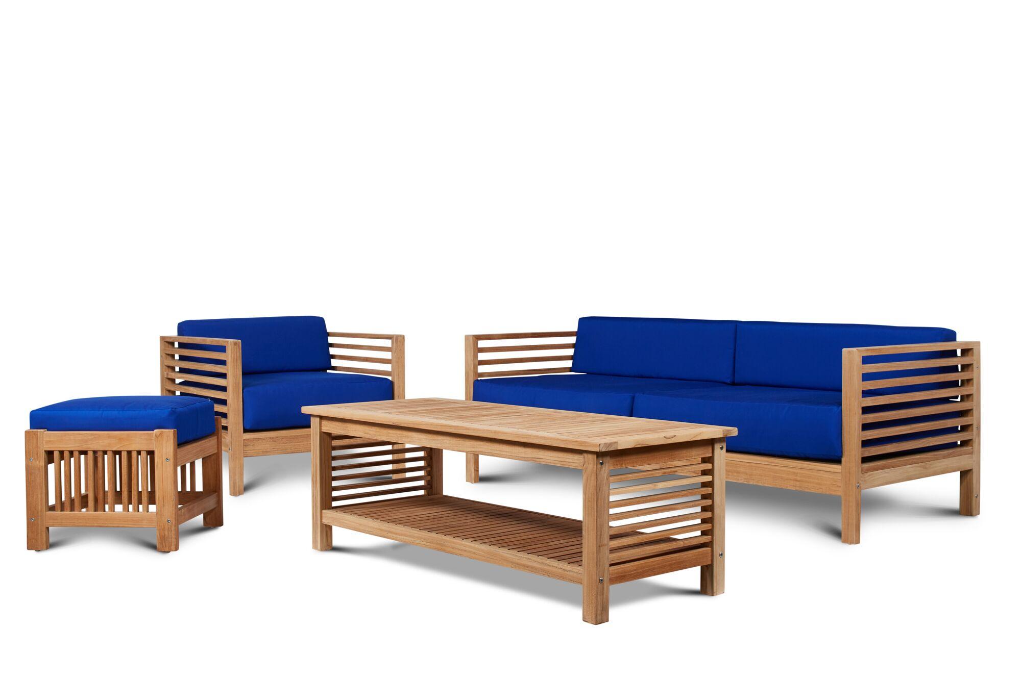 Crider 4 Piece Teak Sunbrella Sofa Set with Cushions