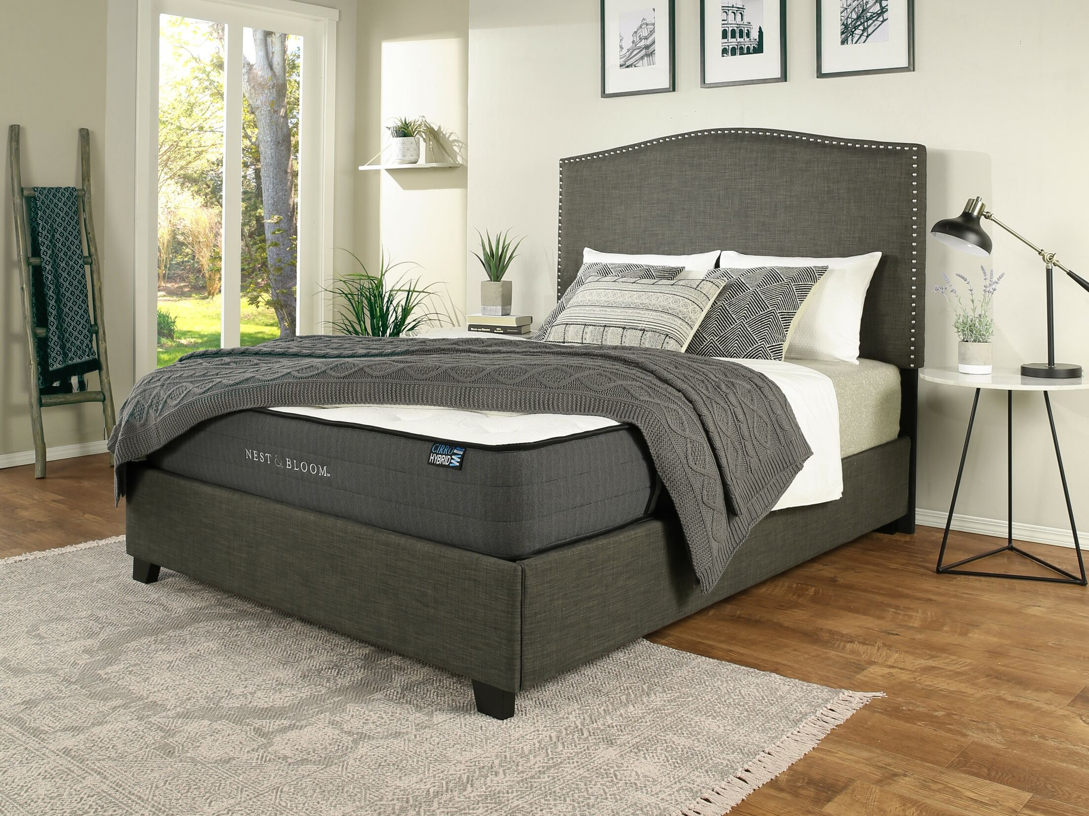 Almodovar Upholstered Panel Bed with Mattress Size: King, Color: Gray
