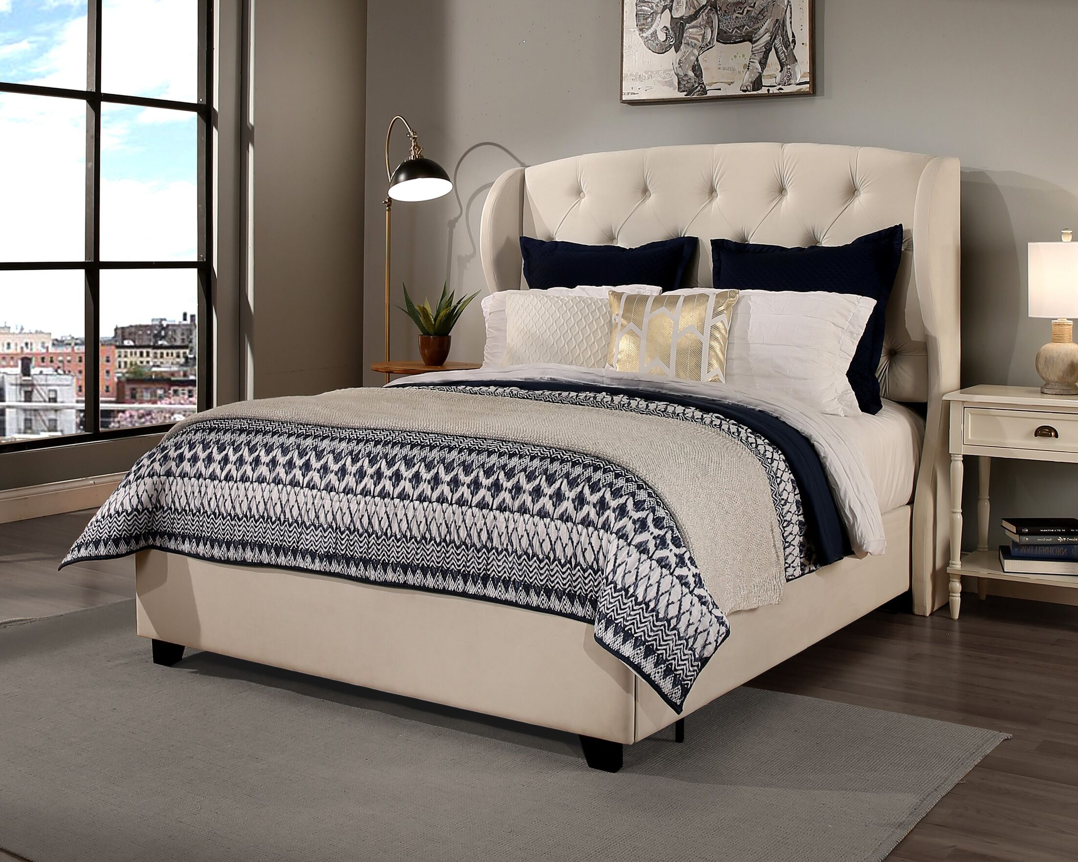 Sornson Upholstered Platform Bed with Mattress Size: California King, Color: Ivory