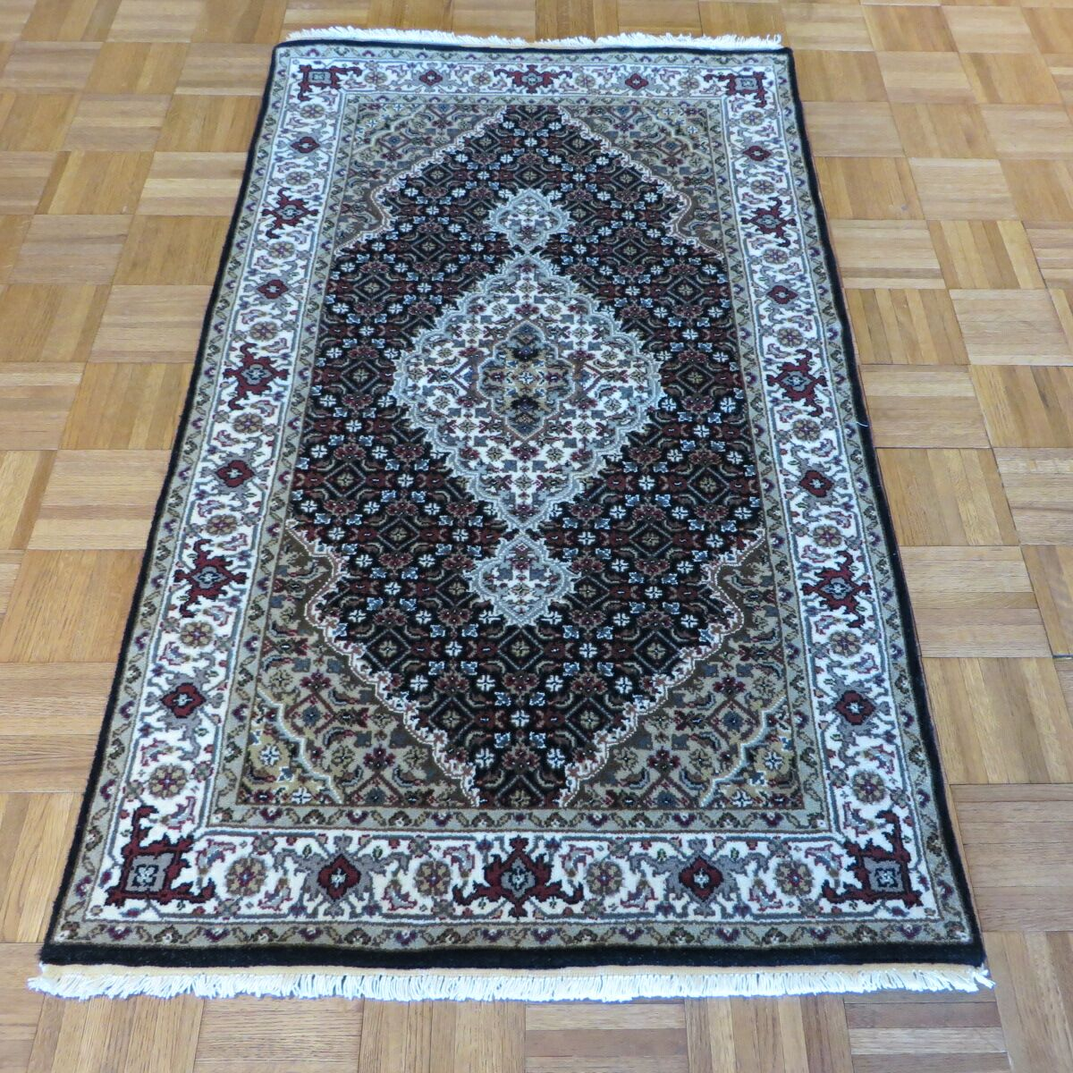 One-of-a-Kind Raiden Hand-Knotted Wool Black Area Rug Rug Size: Runner 3' x 12'