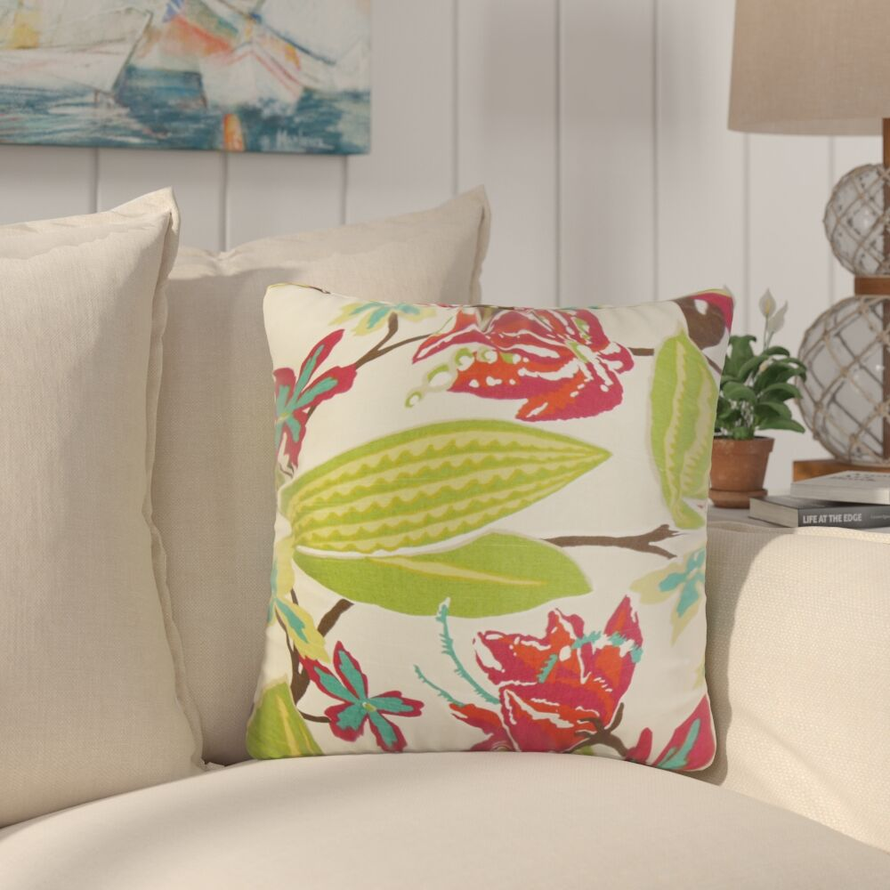 Bryleigh Floral Cotton Throw Pillow Color: Fuchsia, Size: 22