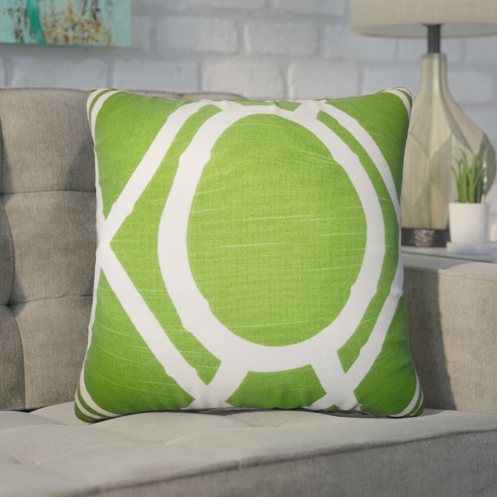 Wolfgang Geometric Cotton Throw Pillow Color: Green