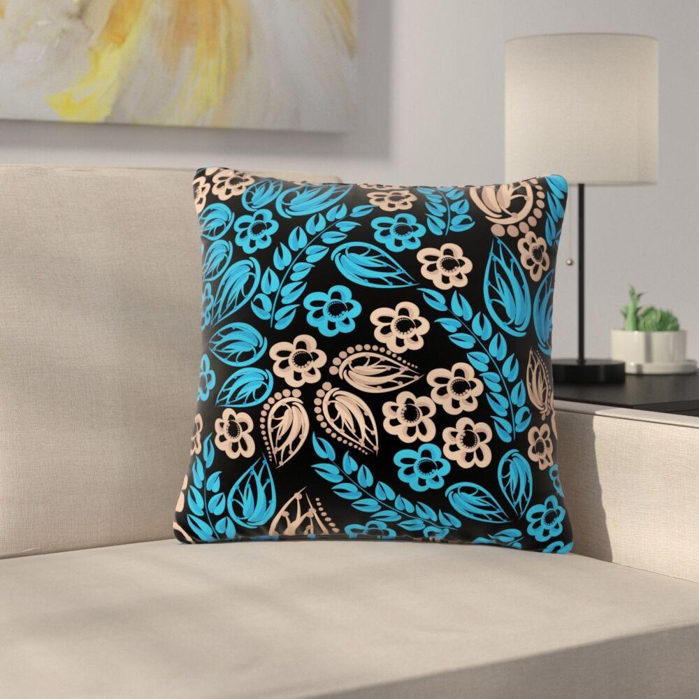 Maria Bazarova Blue Flowers Floral Outdoor Throw Pillow Color: Black, Size: 16