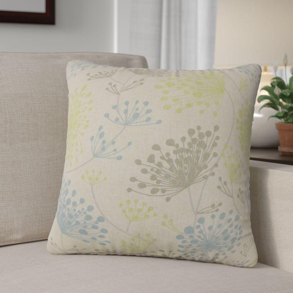 Veilleux Floral Cotton Throw Pillow Color: Gray
