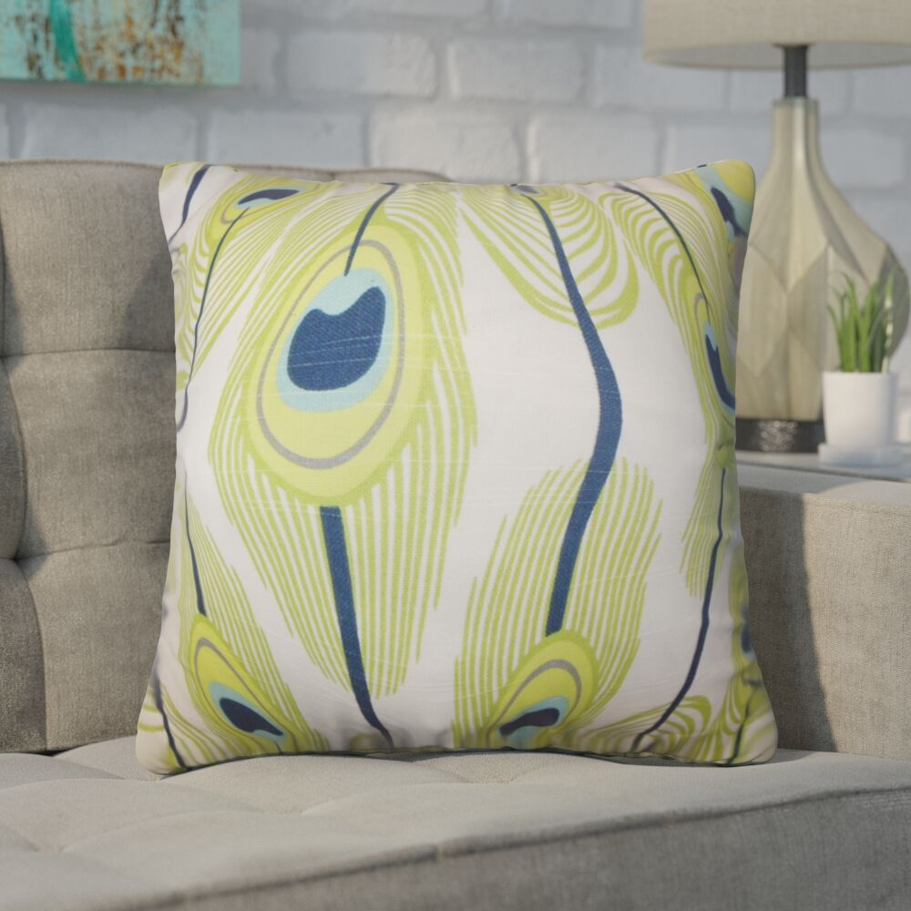 Russo Feather Cotton Throw Pillow Color: Green