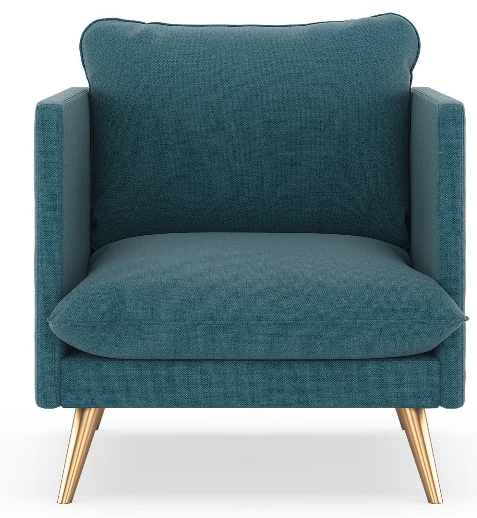 Covert Oxford Weave Armchair Finish: Black, Upholstery: Ocean Gray