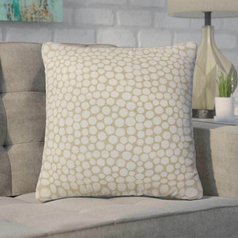 Xandra Polka Dot Throw Pillow Color: Tan