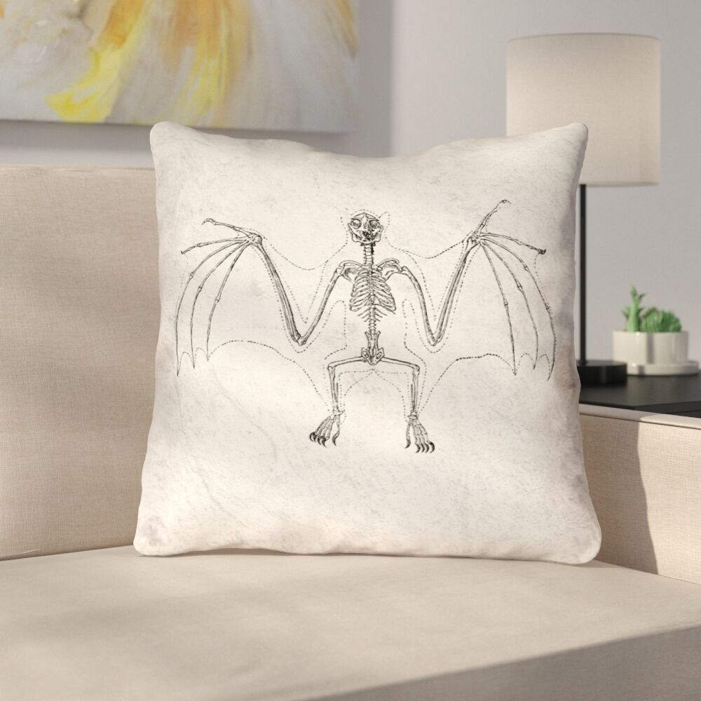 Vintage Bat Skeleton Double Sided Throw Pillow Type: Throw Pillow