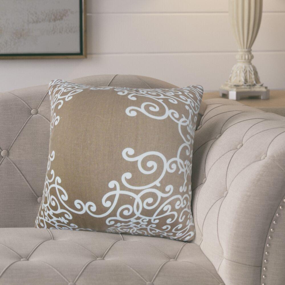 Markes Floral Cotton Throw Pillow Color: Brown Aqua