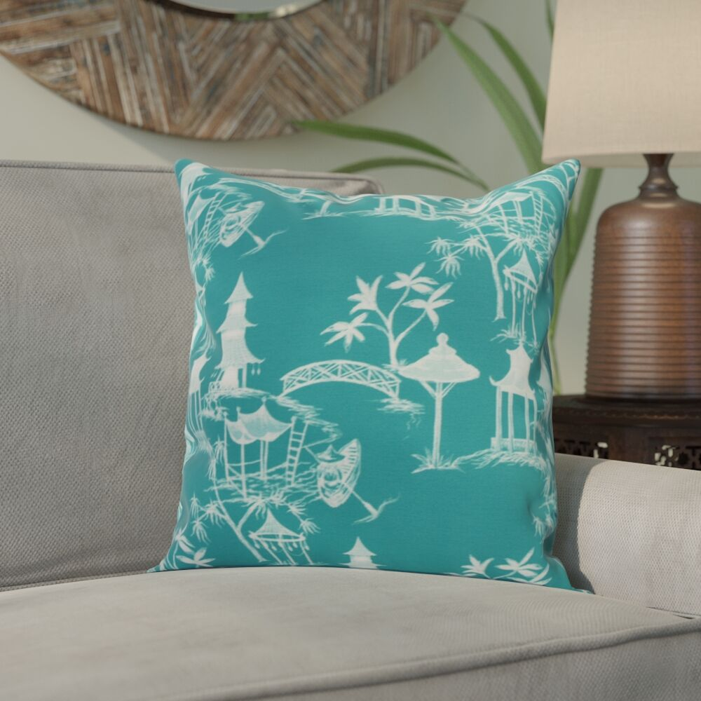 Hirst Chinapezka Print Indoor/Outdoor Throw Pillow Color: Blue, Size: 16