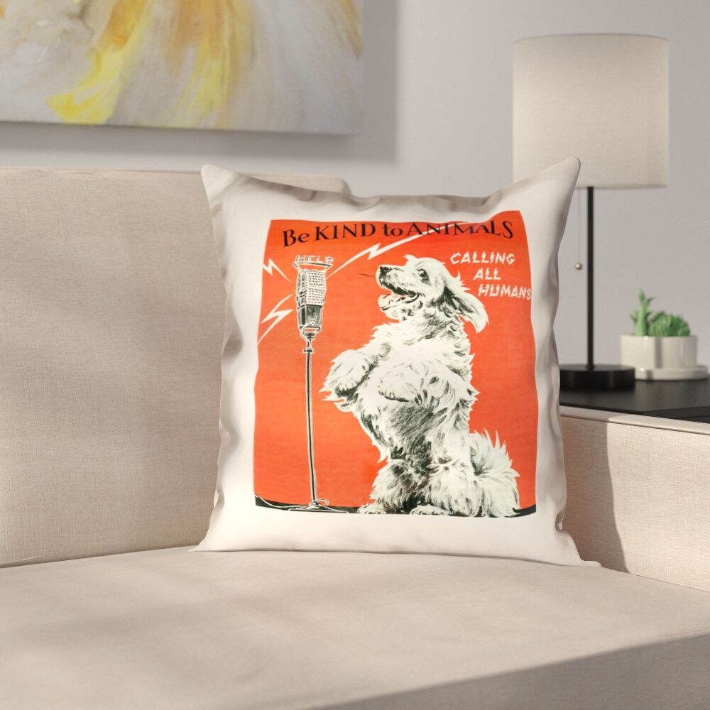 Hansard Vintage Animal Kindness Ad Throw Pillow Size: 28
