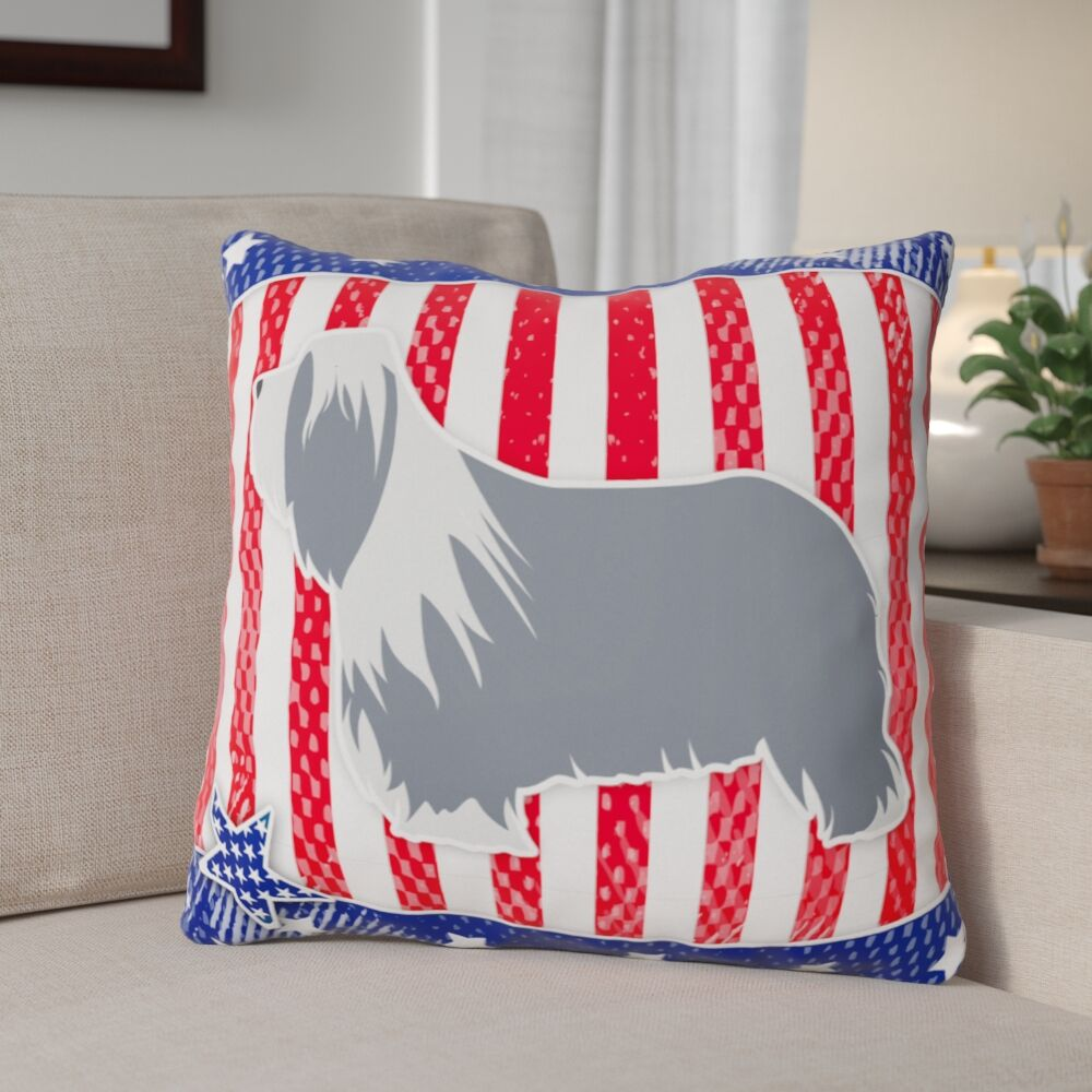 Patriotic USA Bearded Collie Indoor/Outdoor Throw Pillow Size: 18