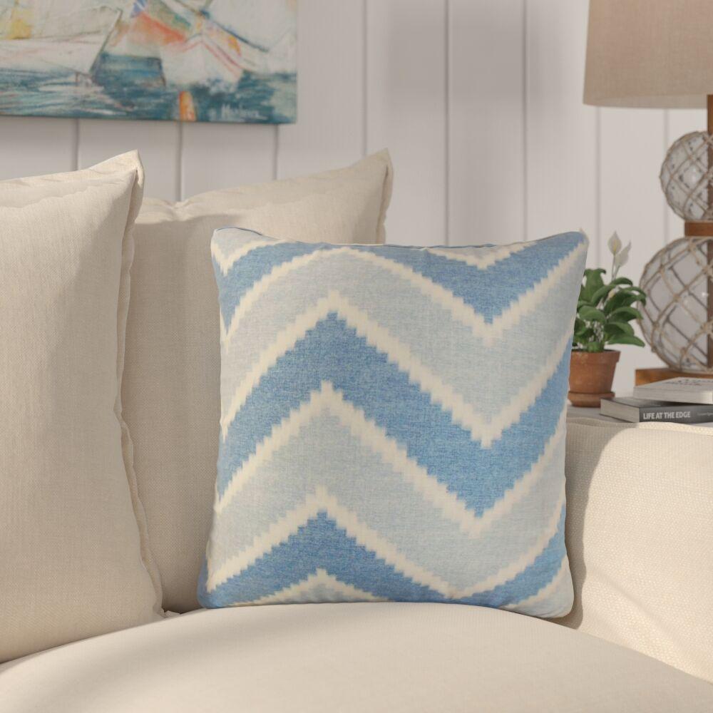 Simonton Zigzag Linen Throw Pillow Color: Blue