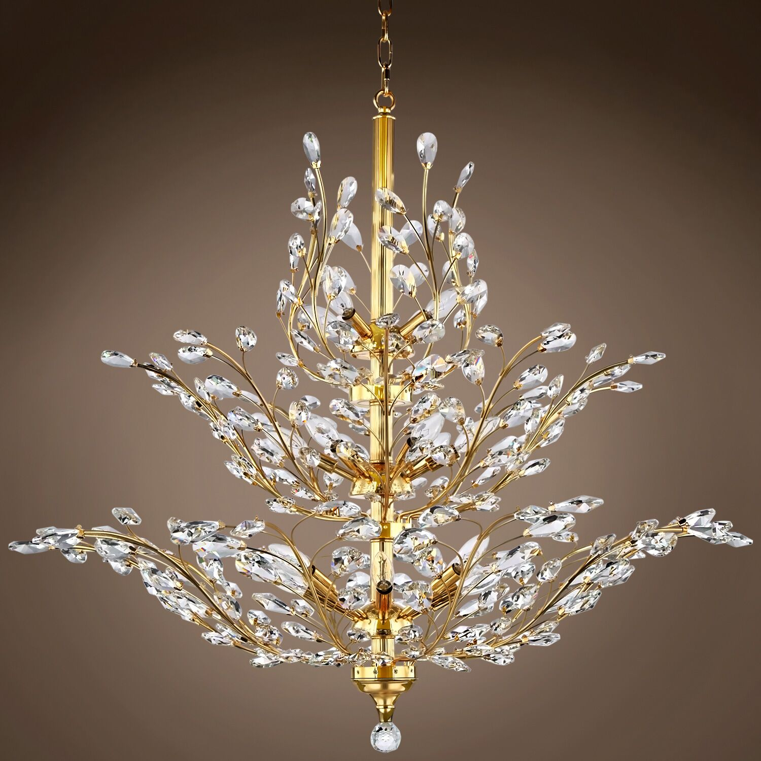 Mendiola 18-Light Chandelier Crystal Grade: European, Crystal Color: Golden Teak, Bulb Type: LED