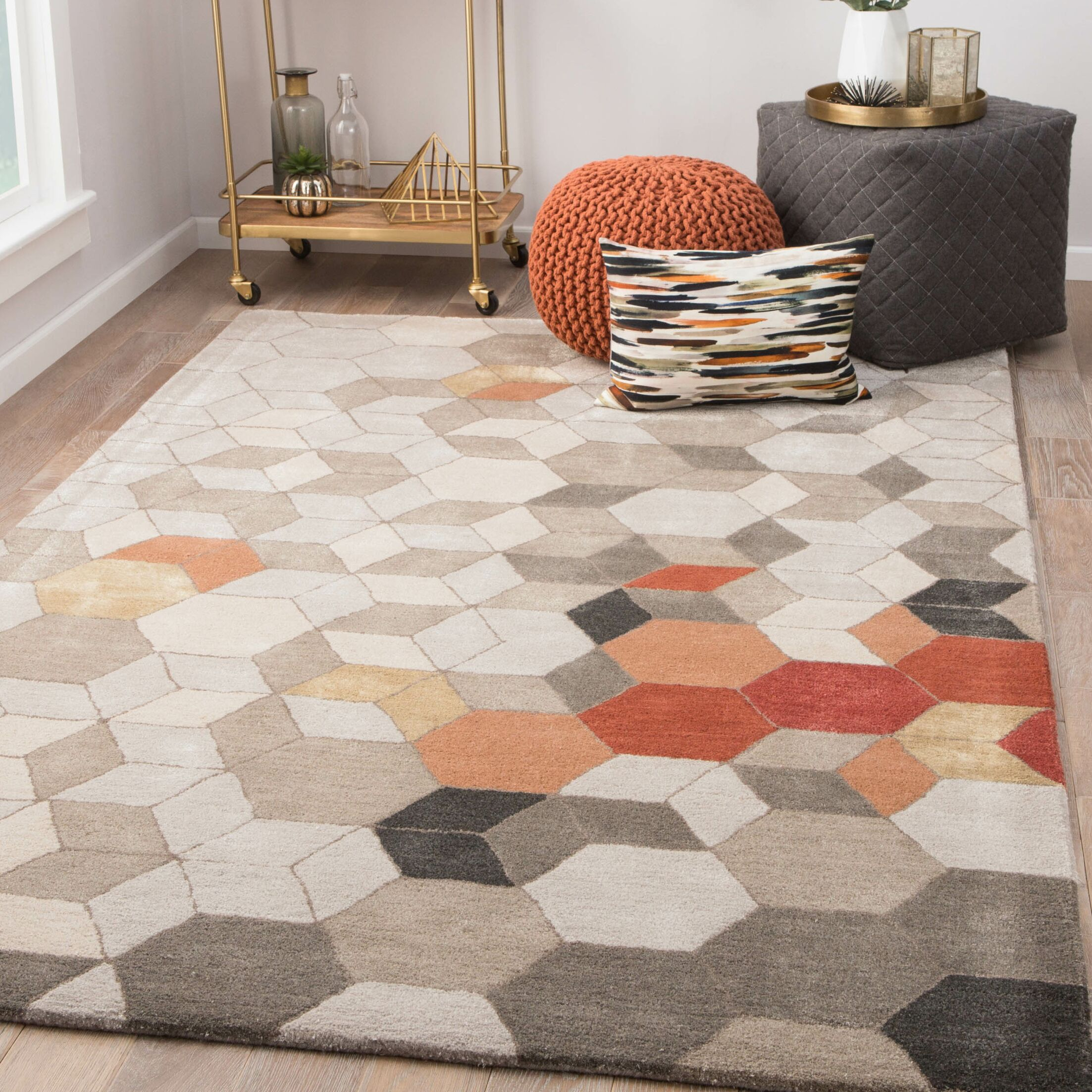 Cearley Hand-Tufted Pumice Stone/Fallen Rock Area Rug Rug Size: Rectangle 5' x 8'