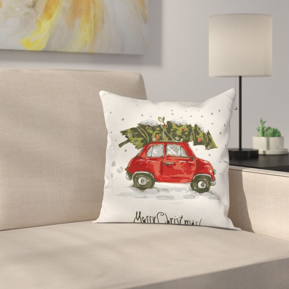 Christmas Retro Car with Tree Square Pillow Cover Size: 24