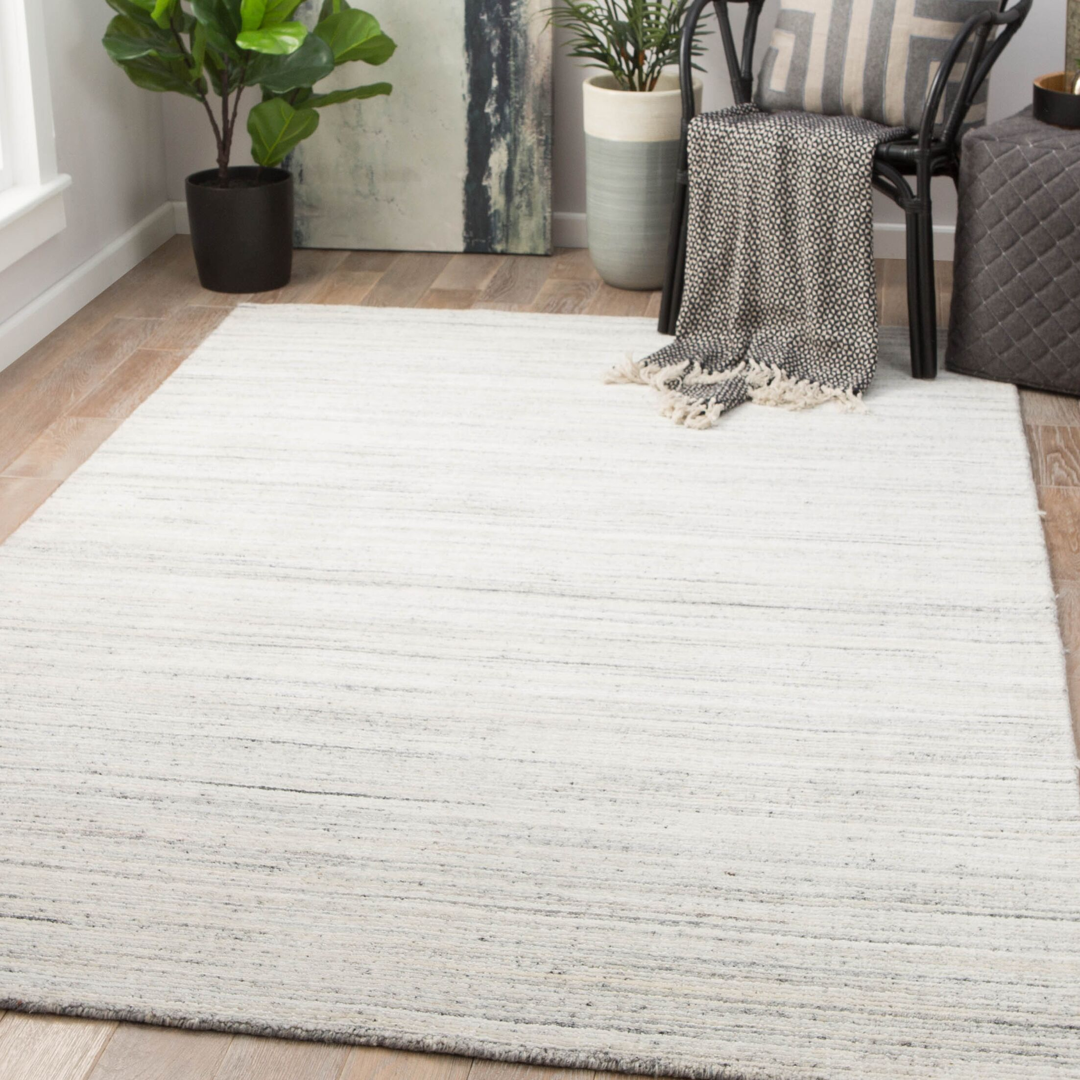 Schmit Hand-Woven Wool Blanc De Blanc/Smoked Pearl Area Rug Rug Size: Rectangle 2' x 3'