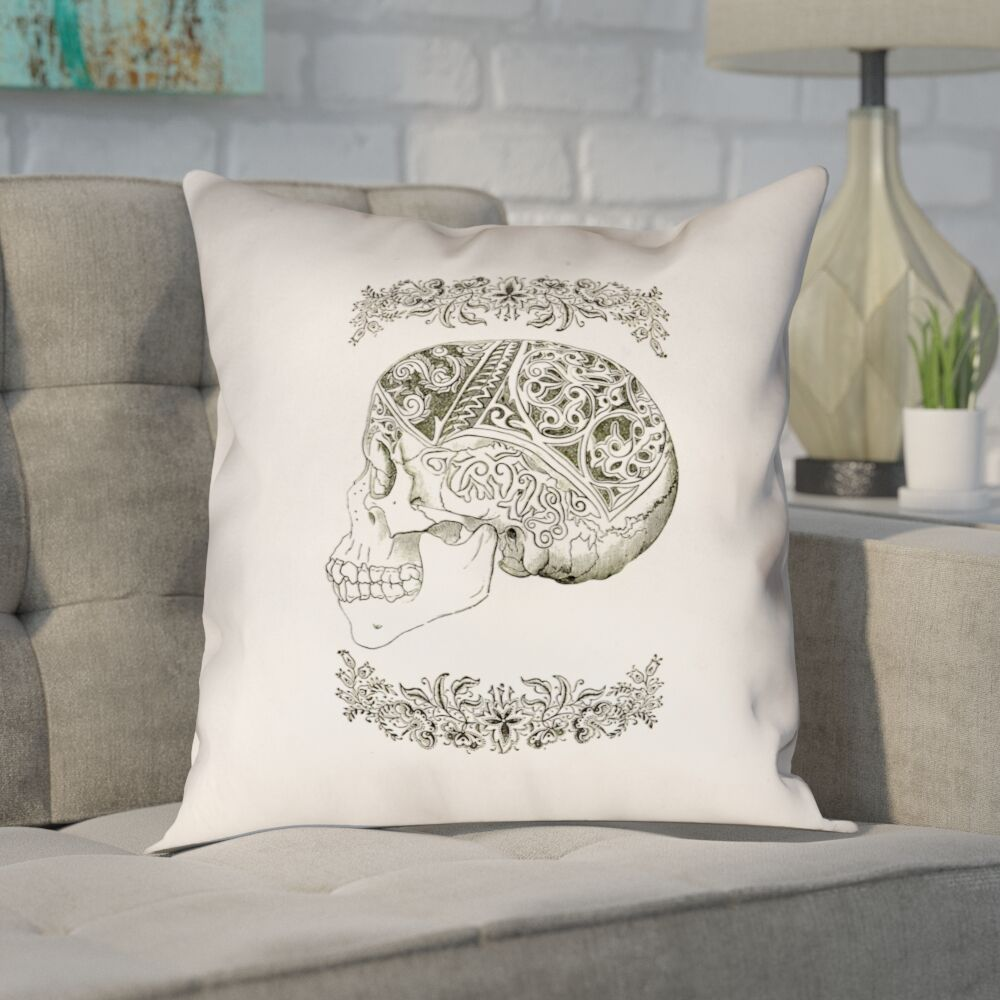 Enciso Vintage Decorative Skull Throw Pillow Size: 18