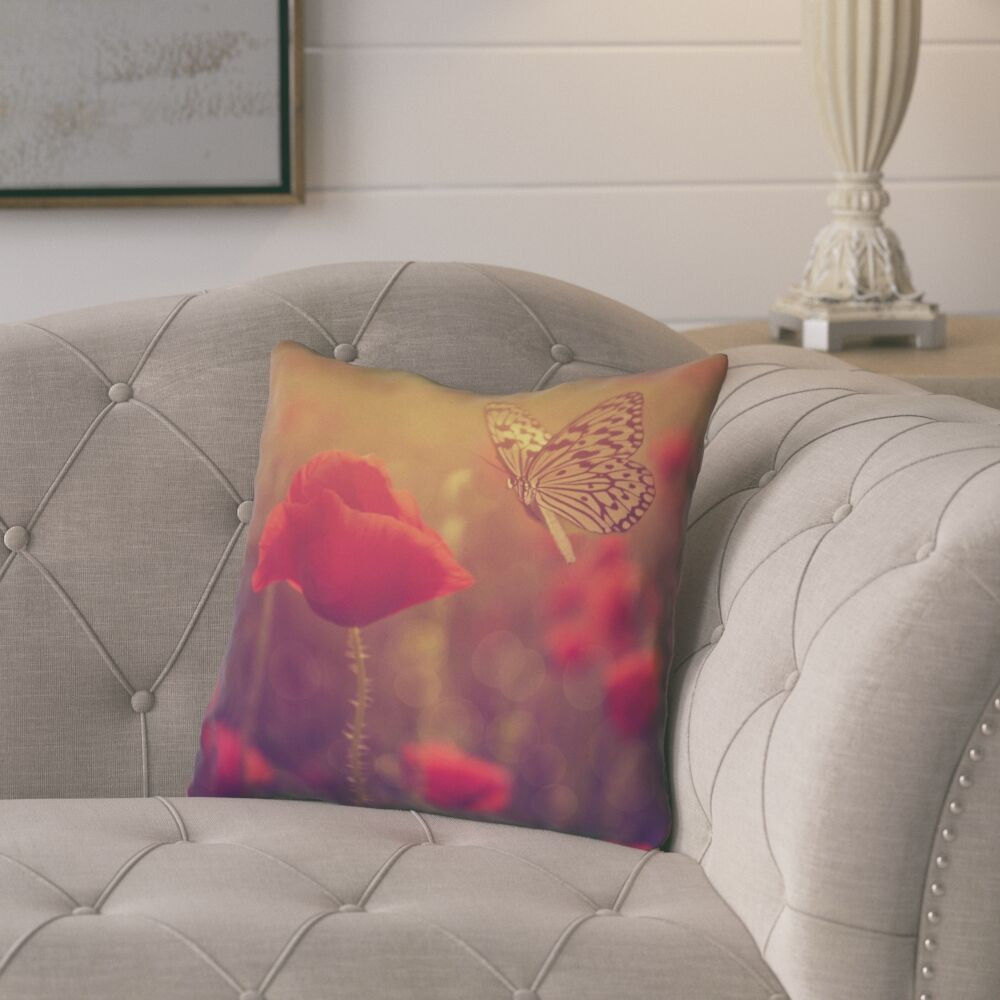 Mariani Butterfly and Rose Outdoor Throw Pillow Size: 20