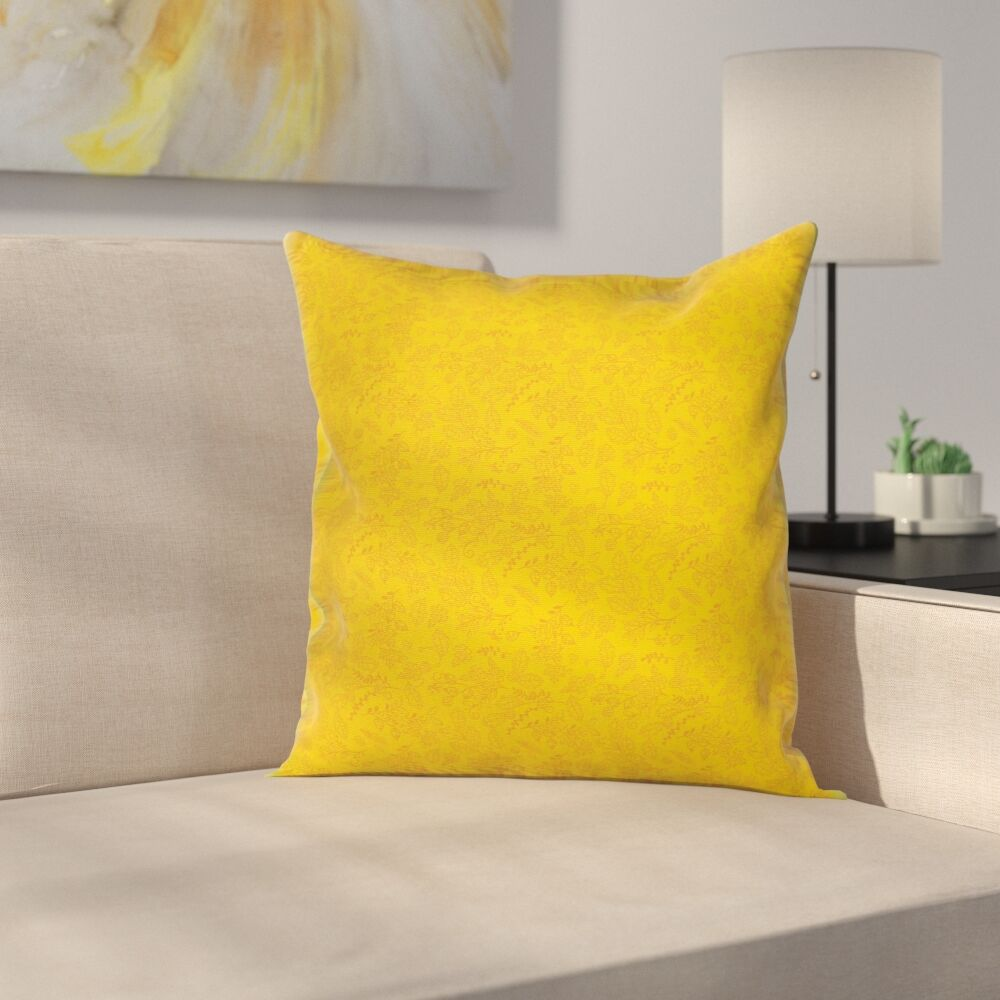 Stain Resistant Floral Graphic Print Square Pillow Cover with Zipper Size: 18