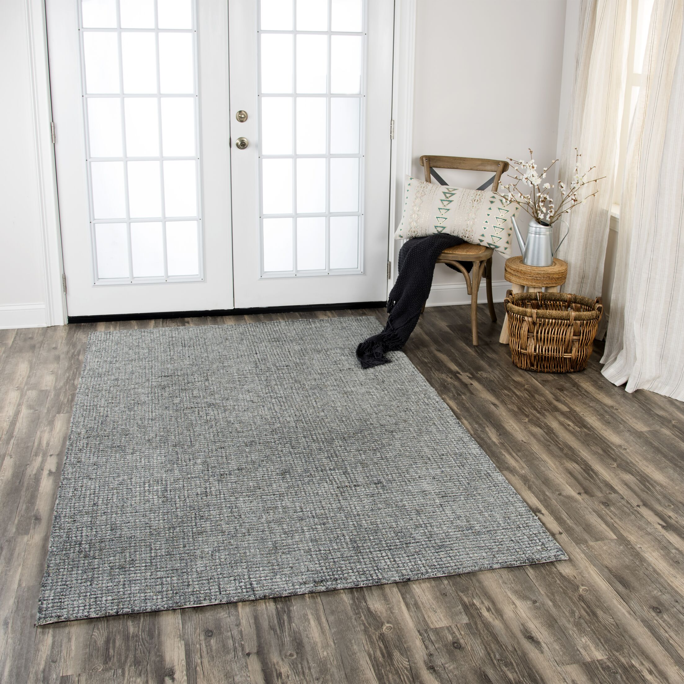 Hover Hand-Tufted Wool Dark Gray Area Rug Rug Size: Rectangle 3' x 5'