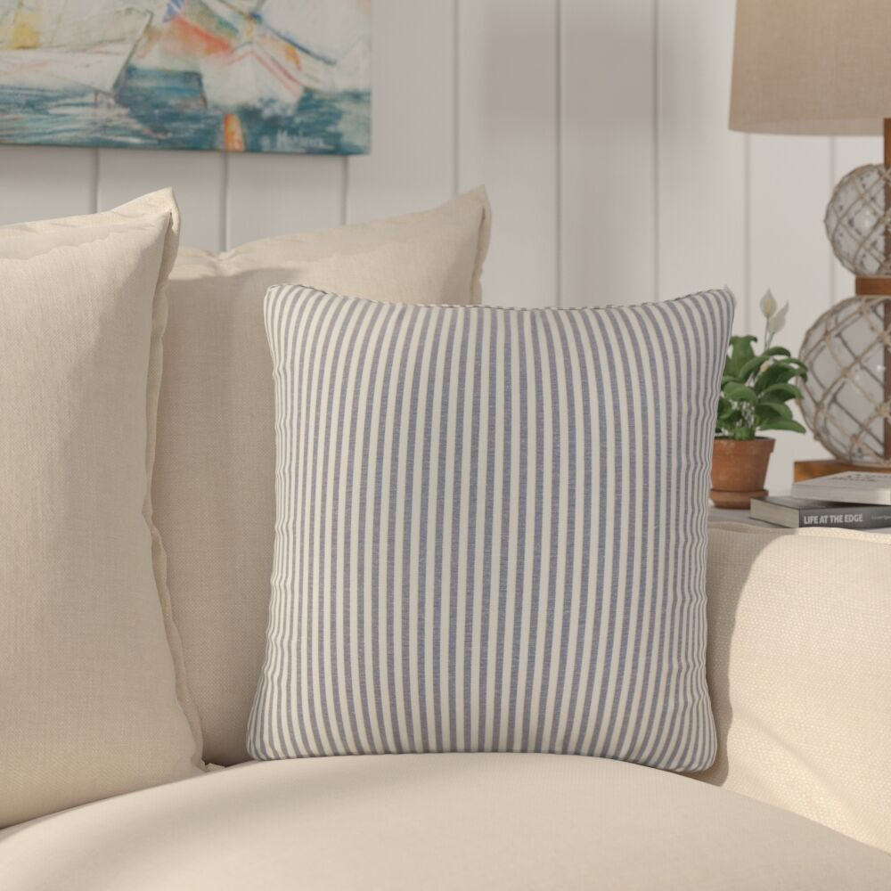 Montego Stripes Cotton Throw Pillow Color: Navy