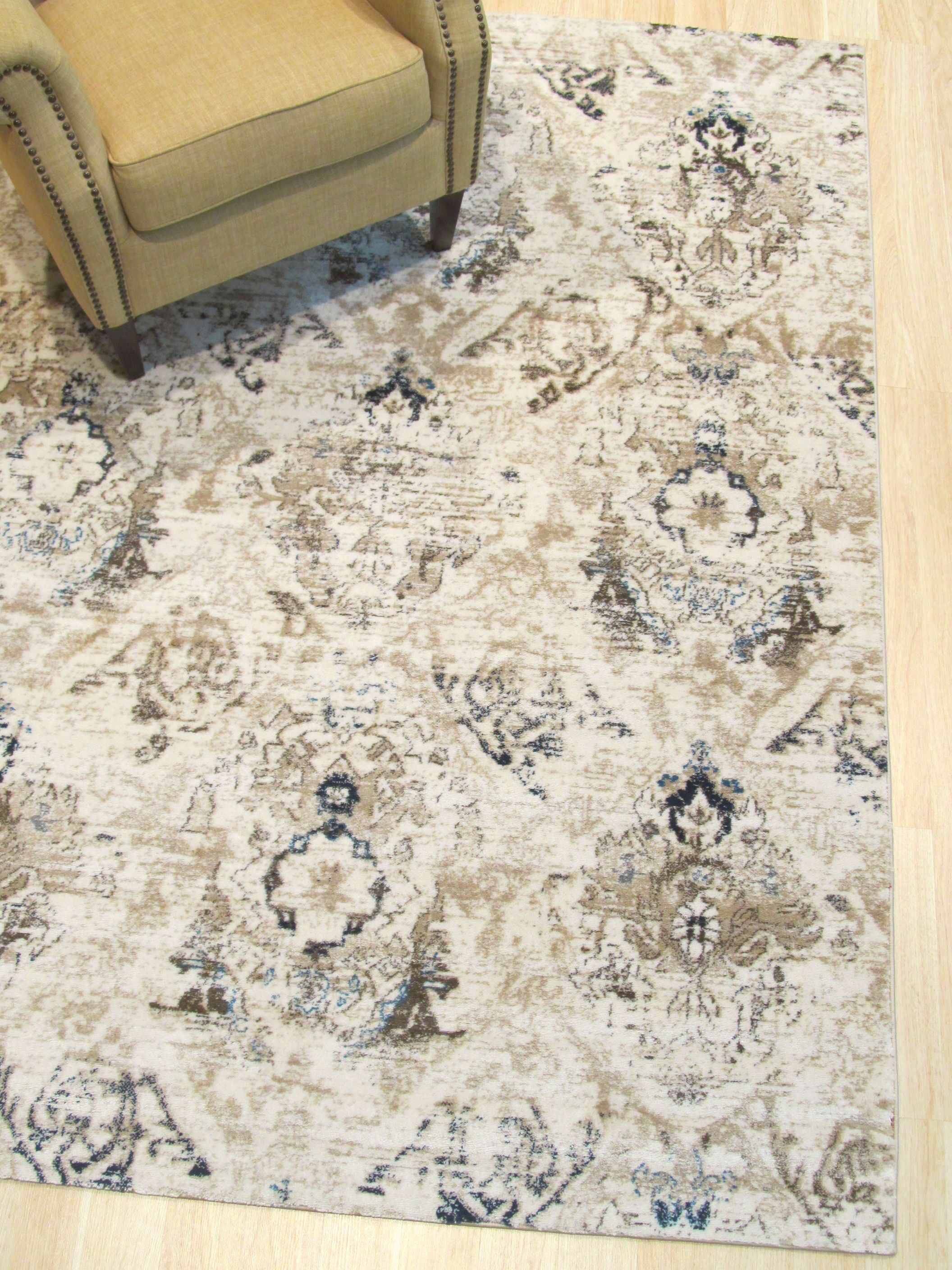Lecuyer Distressed Ivory Area Rug Rug Size: Rectangle 5'3
