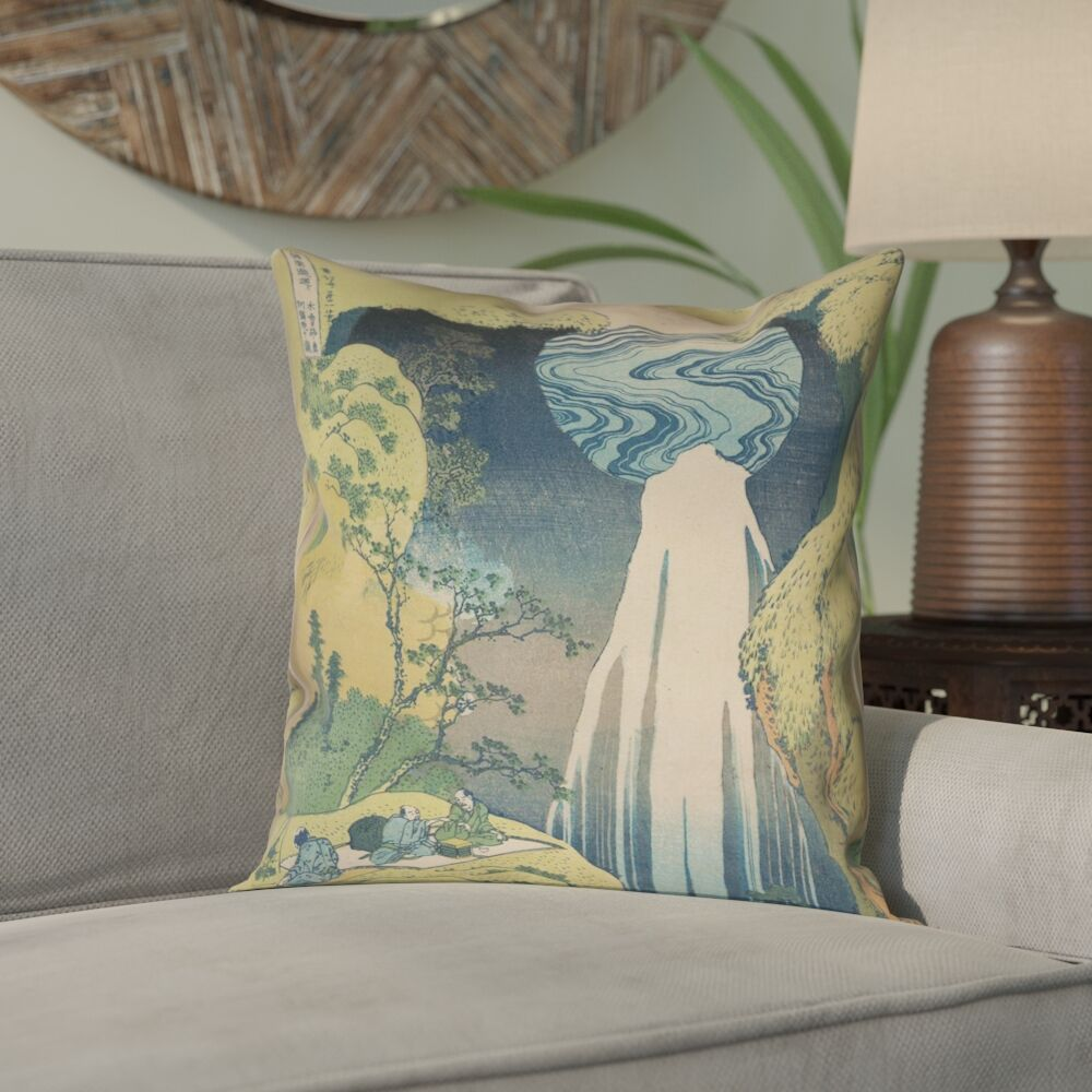 Rinan Japanese Waterfall 100% Cotton Pillow Cover Size: 14
