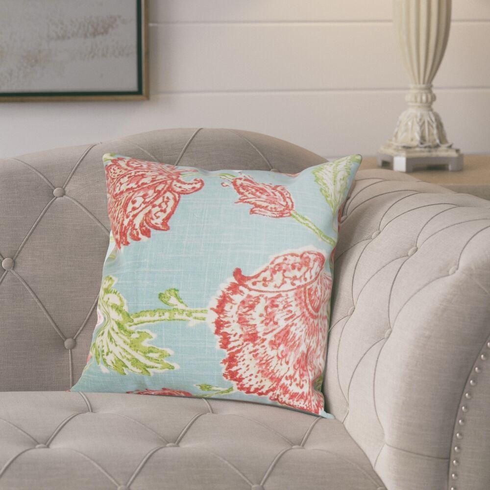 Monegro Linen Throw Pillow Color: Aqua, Size: 24