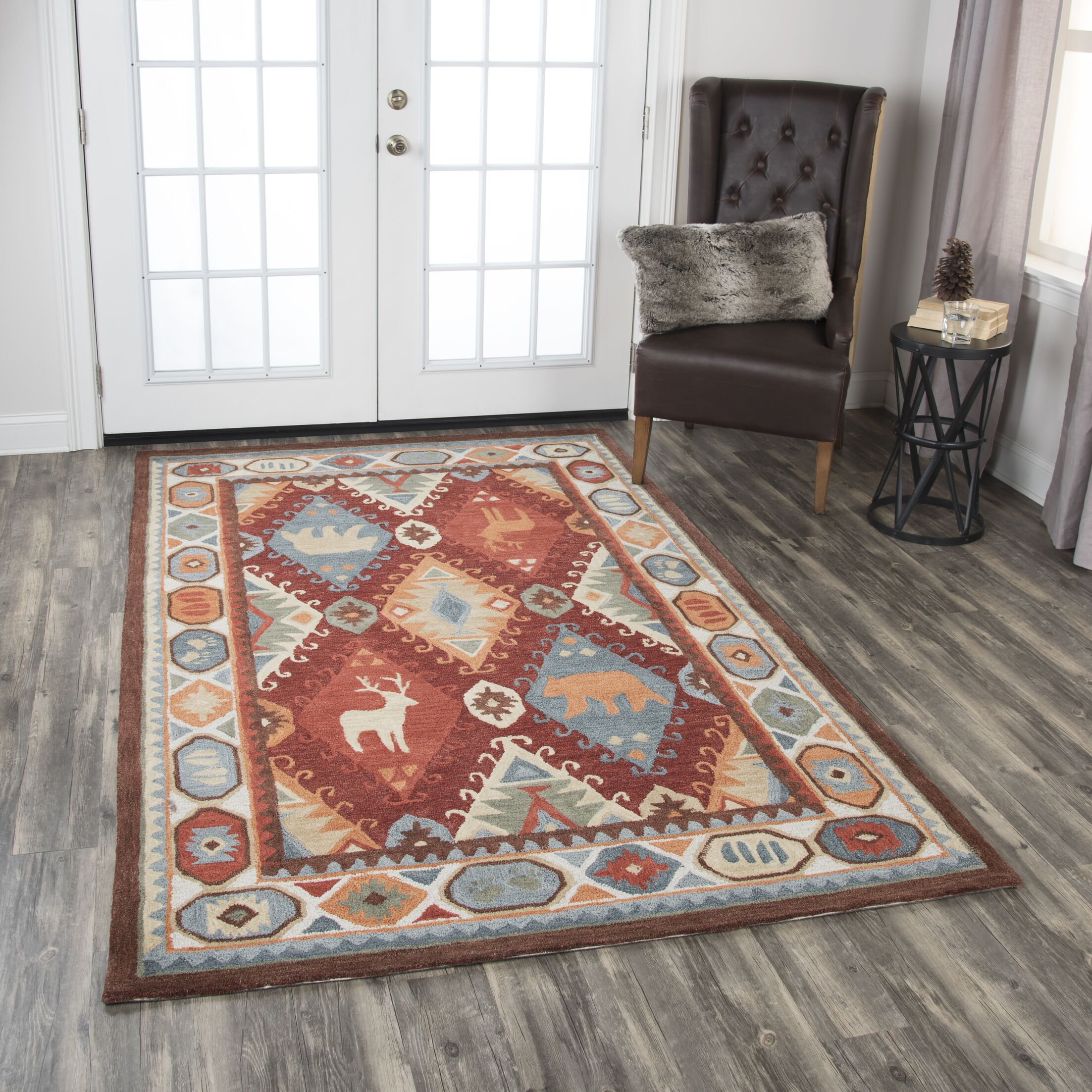 Pouliot Hand-Tufted Wool Red Area Rug Rug Size: Rectangle 8' x 10'