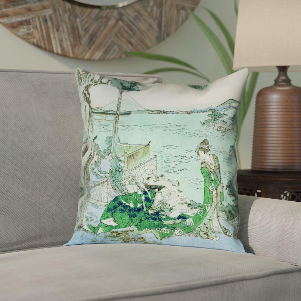 Enya Japanese Courtesan Square Cotton Pillow Cover Size: 16
