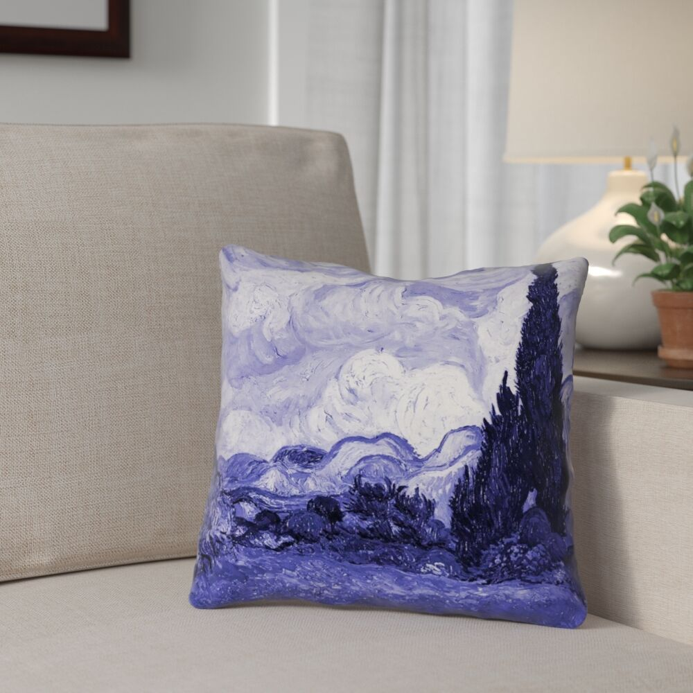 Meredosia Wheat Field with Cypresses Faux Linen Throw Pillow Size: 20