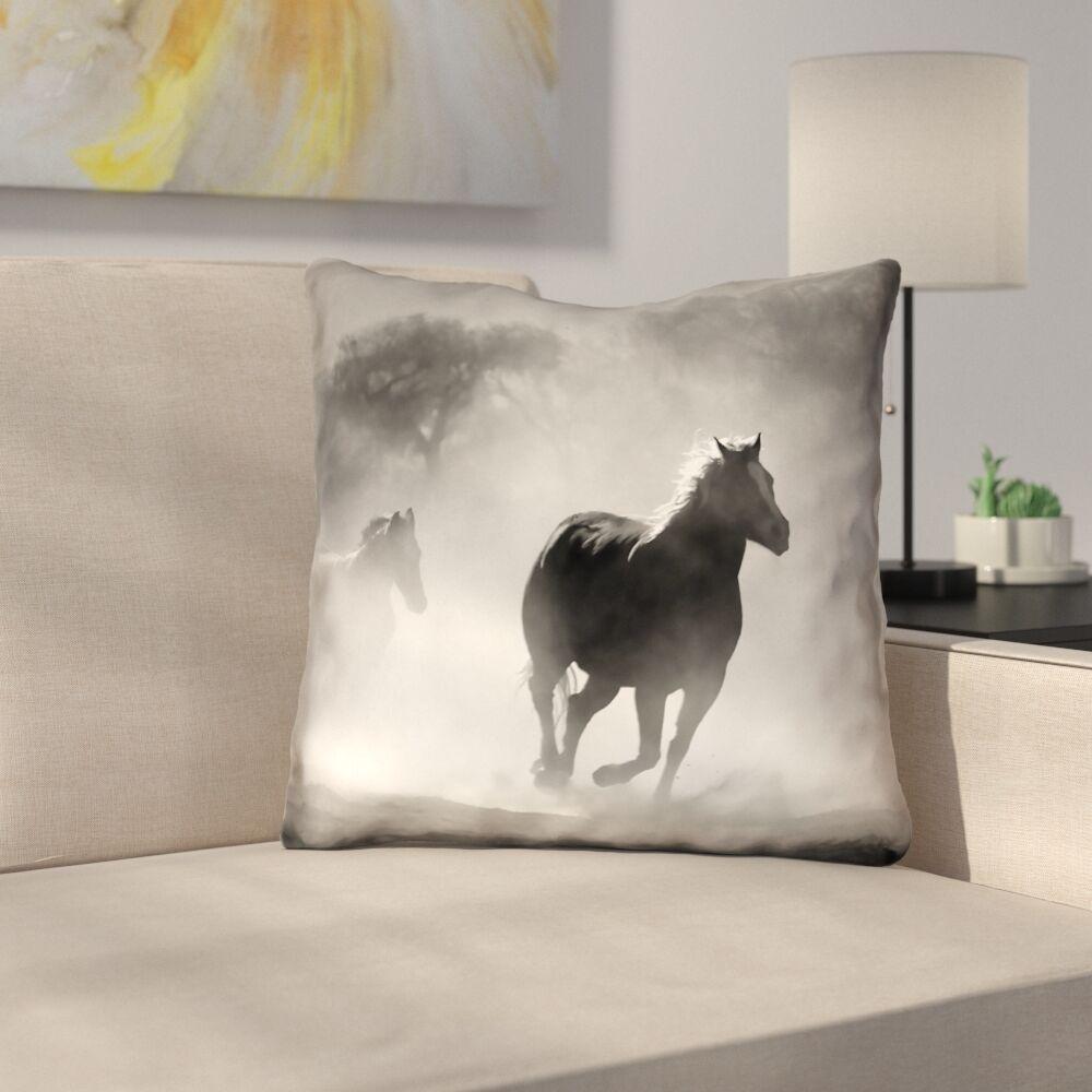 Aminata Galloping Horses Throw Pillow Size: 18