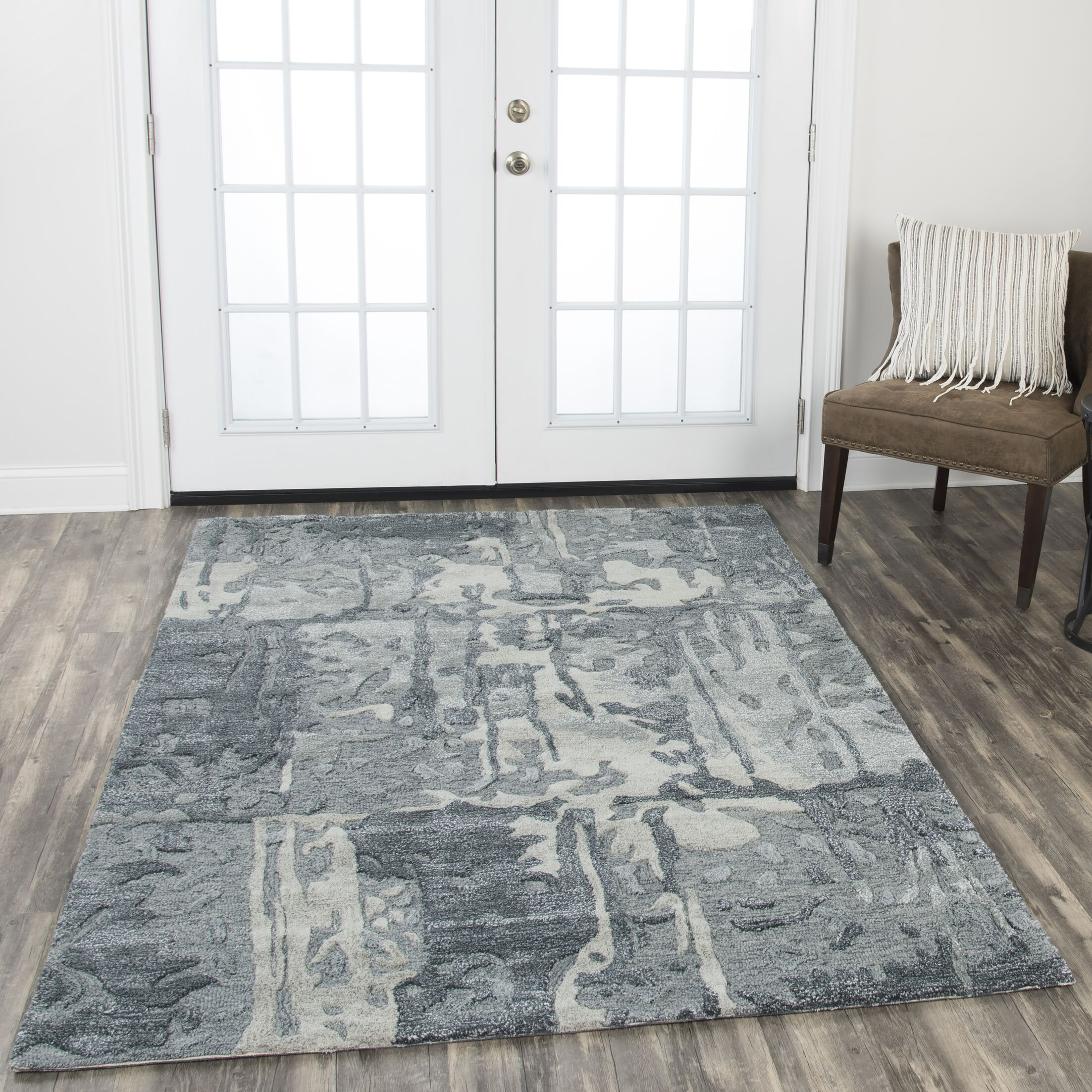 Gomes Hand-Tufted Wool Gray Area Rug Rug Size: Rectangle 2'6