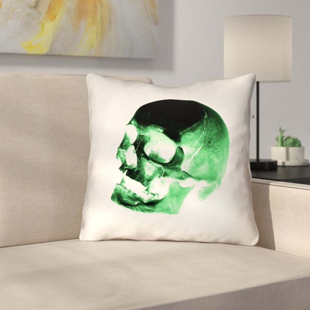 Skull Outdoor Throw Pillow Size: 20
