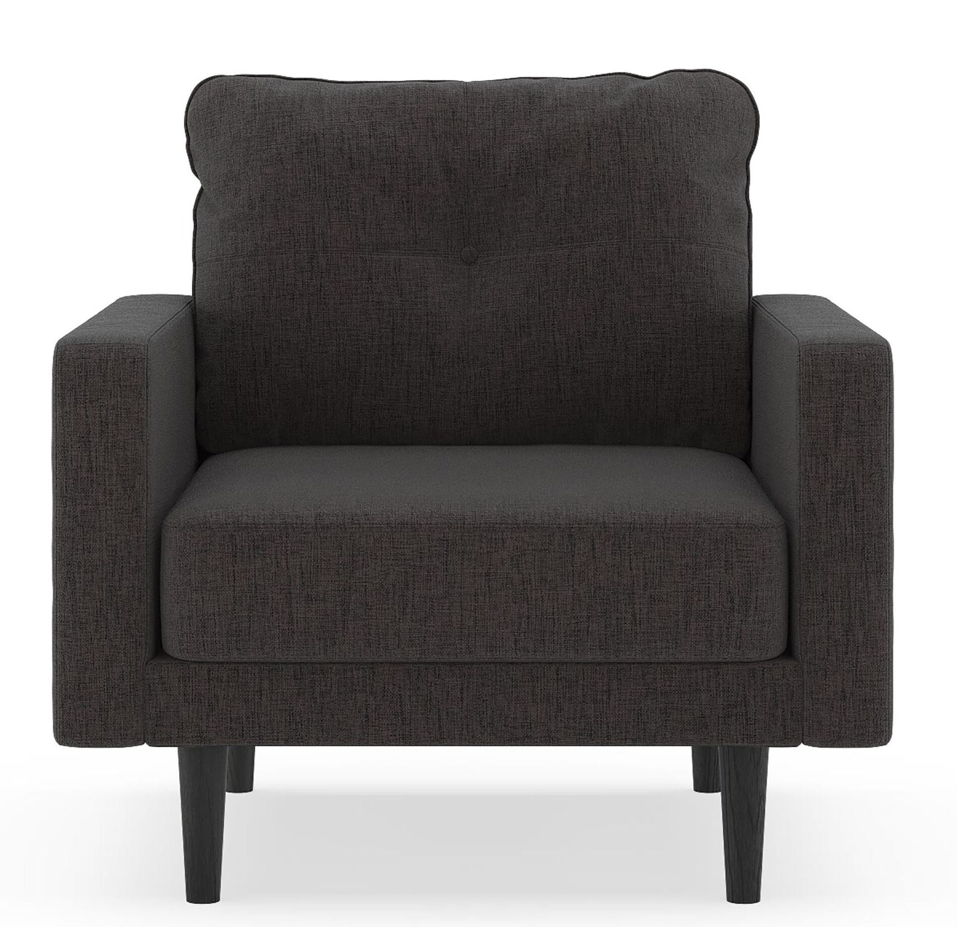 Crabill Pebble Weave Armchair Upholstery: Heathered Slate, Finish: Natural