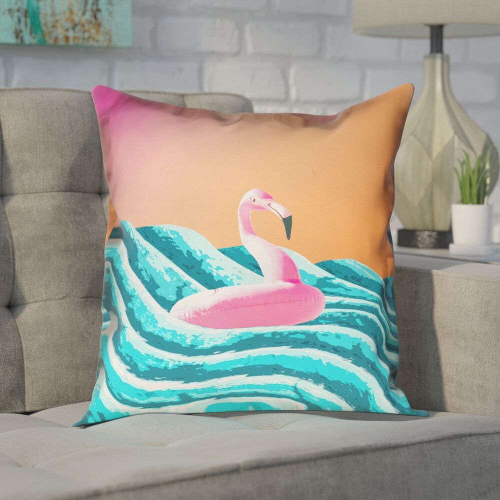 Enciso Sun and Surf Flamingo Float Throw Pillow Size: 40