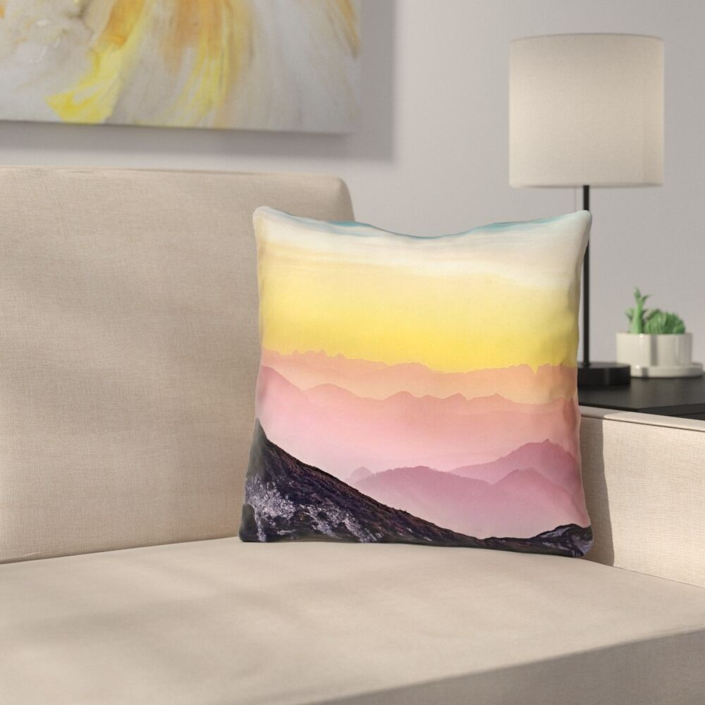 Thang Pastel Landscape Square Outdoor Throw Pillow Size: 20