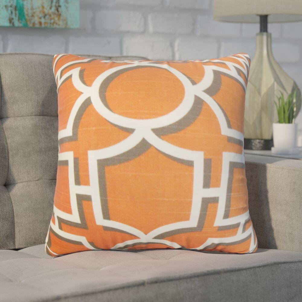 Zaira Geometric Cotton Throw Pillow Color: Orange