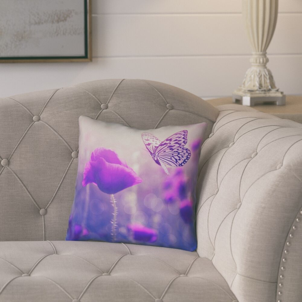 Mariani Butterfly and Rose Square 100% Cotton Throw Pillow Size: 16