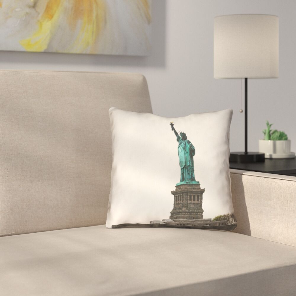 Statue of Liberty Double Sided Print Square Pillow Cover in White Size: 26