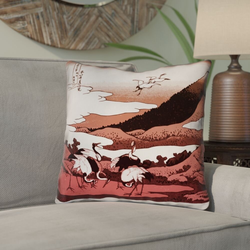 Montreal Japanese Cranes Double Sided Print Throw Pillow Size: 20
