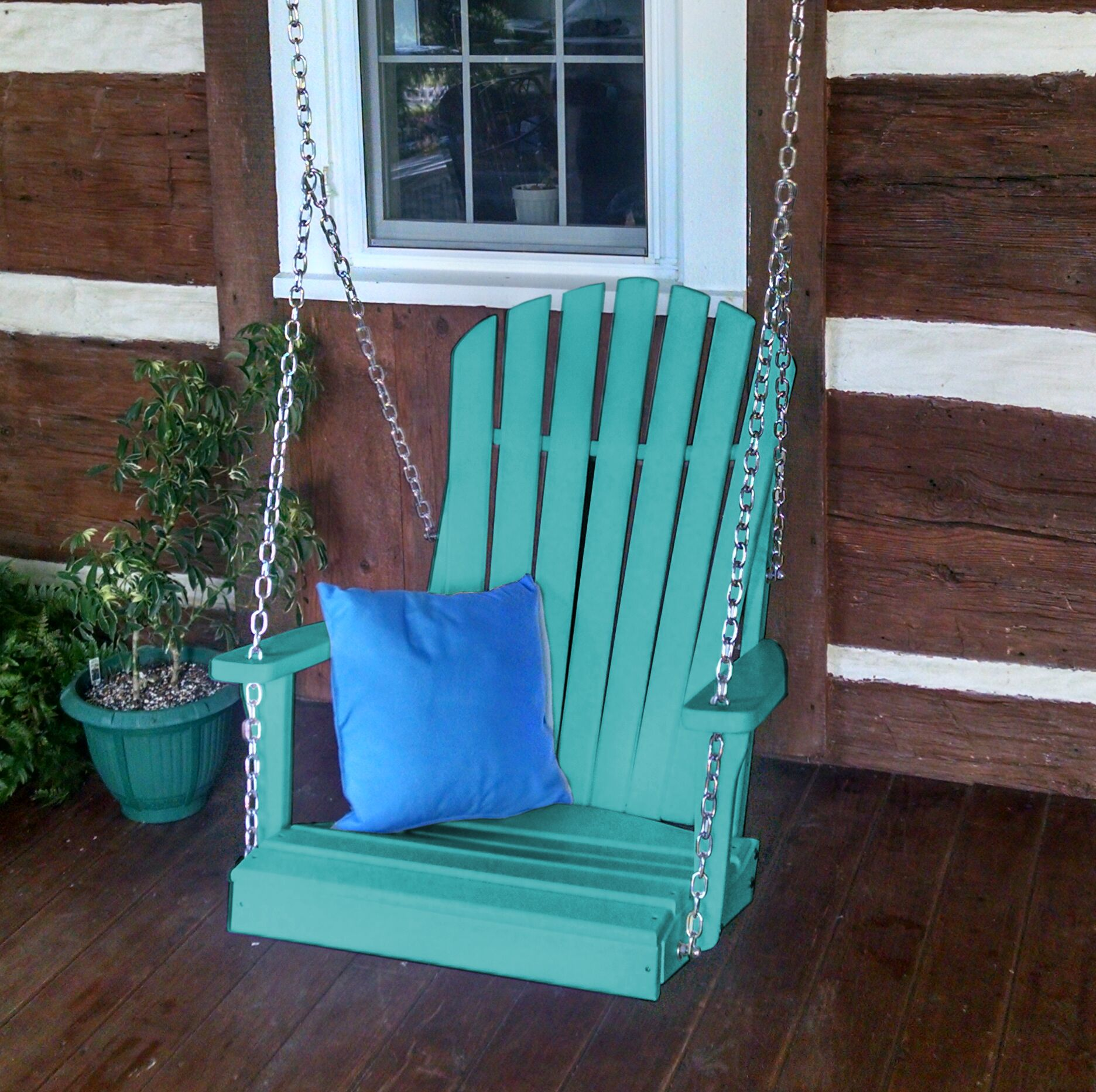 Ratto Adirondack Porch Swing Color: Aruba Blue