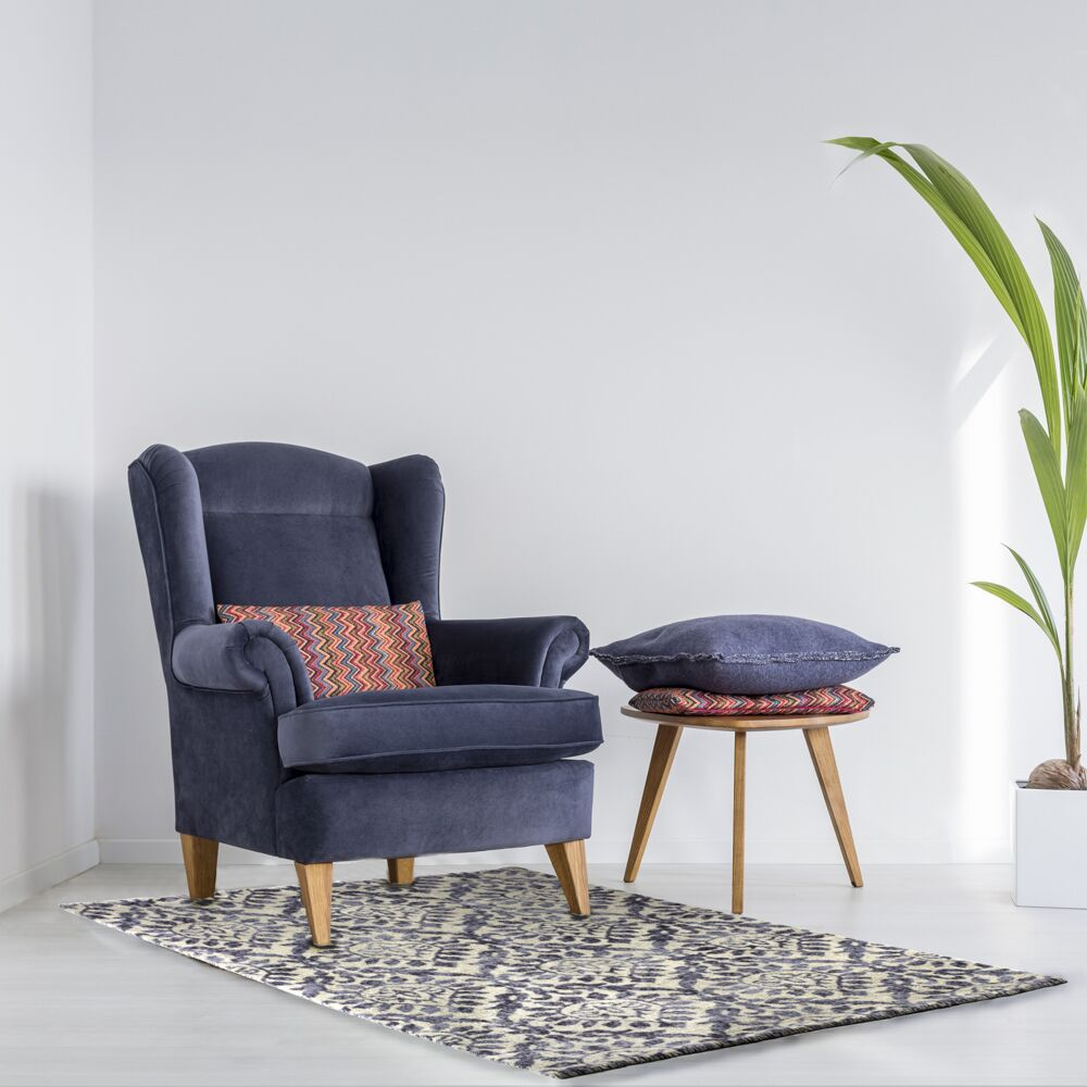 Belfort Blue/Brown Area Rug Rug Size: Rectangle 3'11'' x 5'11''