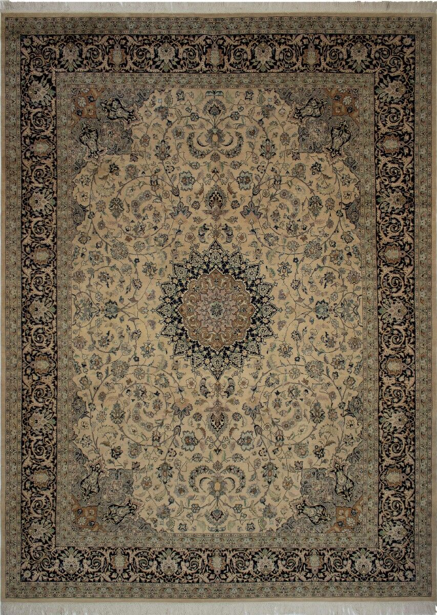 Canning Persian Hand-Knotted Wool Navy/Beige Area Rug
