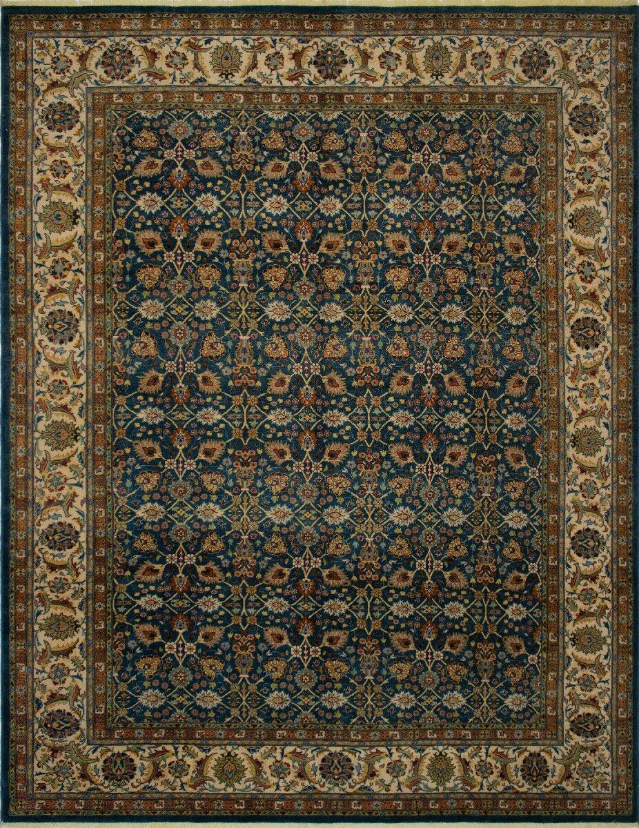 Branner Turkish Hand-Knotted Wool Blue/Beige Area Rug