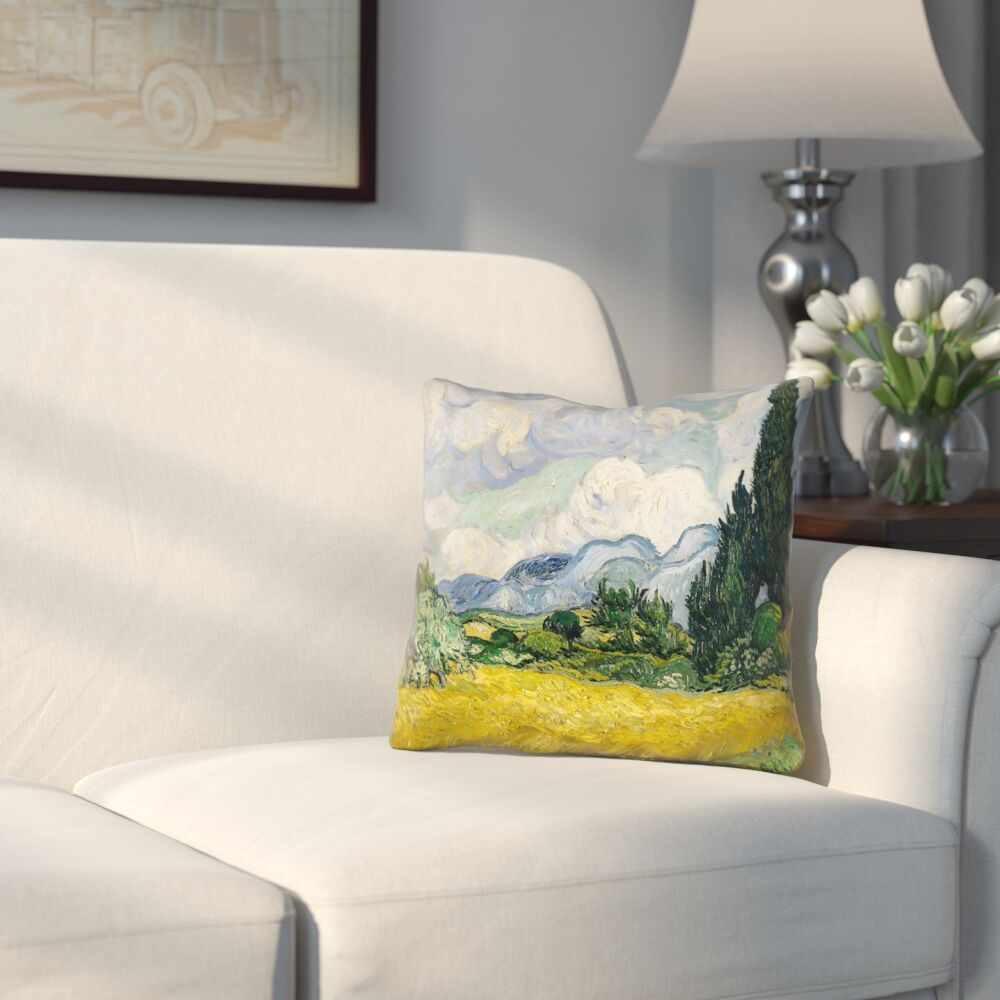 Woodlawn Wheatfield with Cypresses Square Zipper Pillow Cover Size: 20